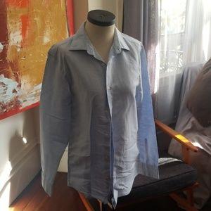 Blue linen collared shirt